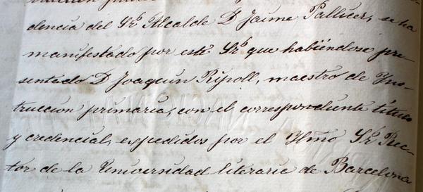 Nomenament de Joaquim Ripoll, mestre